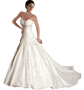 Faironly J5 White Ivory Sweetheart Wedding Dress Bride Gown (S, White)