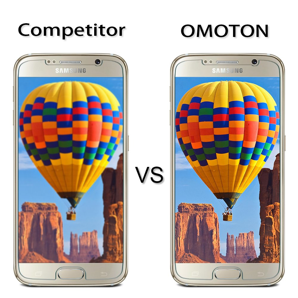 S6 Cristal Templado [2 Unidades] OMOTON Samsung Galaxy S6 Protector de Pantalla [2.5d Borde redondo]con[9H Dureza][Alta Definicion][Garantía de por vida]: ...