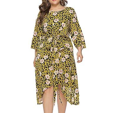 Vestido de Manga Larga con Estampado Floral de Leopardo para ...