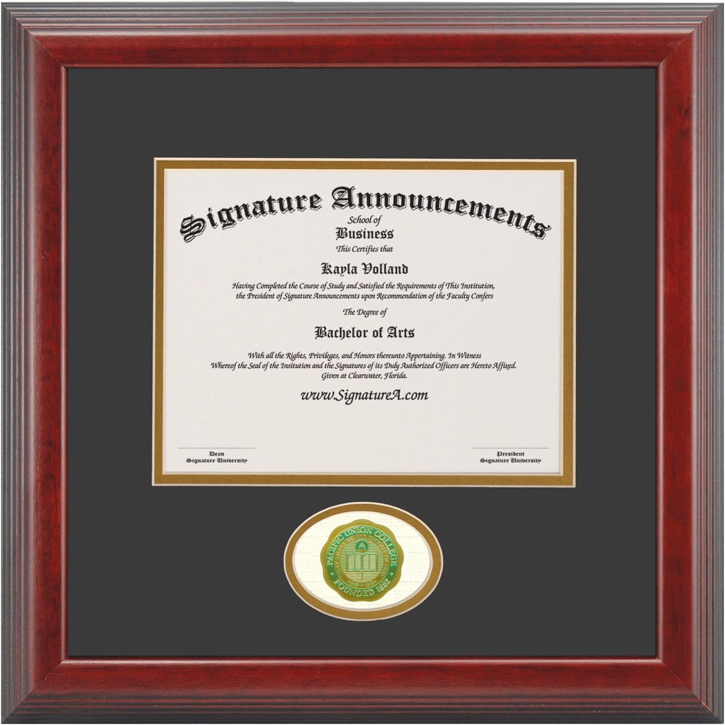 16 x 16 Gloss Mahogany with Gold Accent Signature Announcements Paine College Undergraduate Sculpted Foil Seal /& Name Graduation Diploma Frame