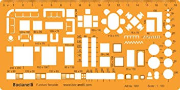 1:50 Scale Architectural Drawing Template Stencil - Architect Technical Drafting Supplies - Furniture Symbols for House Interior Floor Plan Design