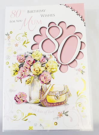 Happy 80th Birthday Mum Card Pink Elegant Lovely Verse Quality 80 Greeting