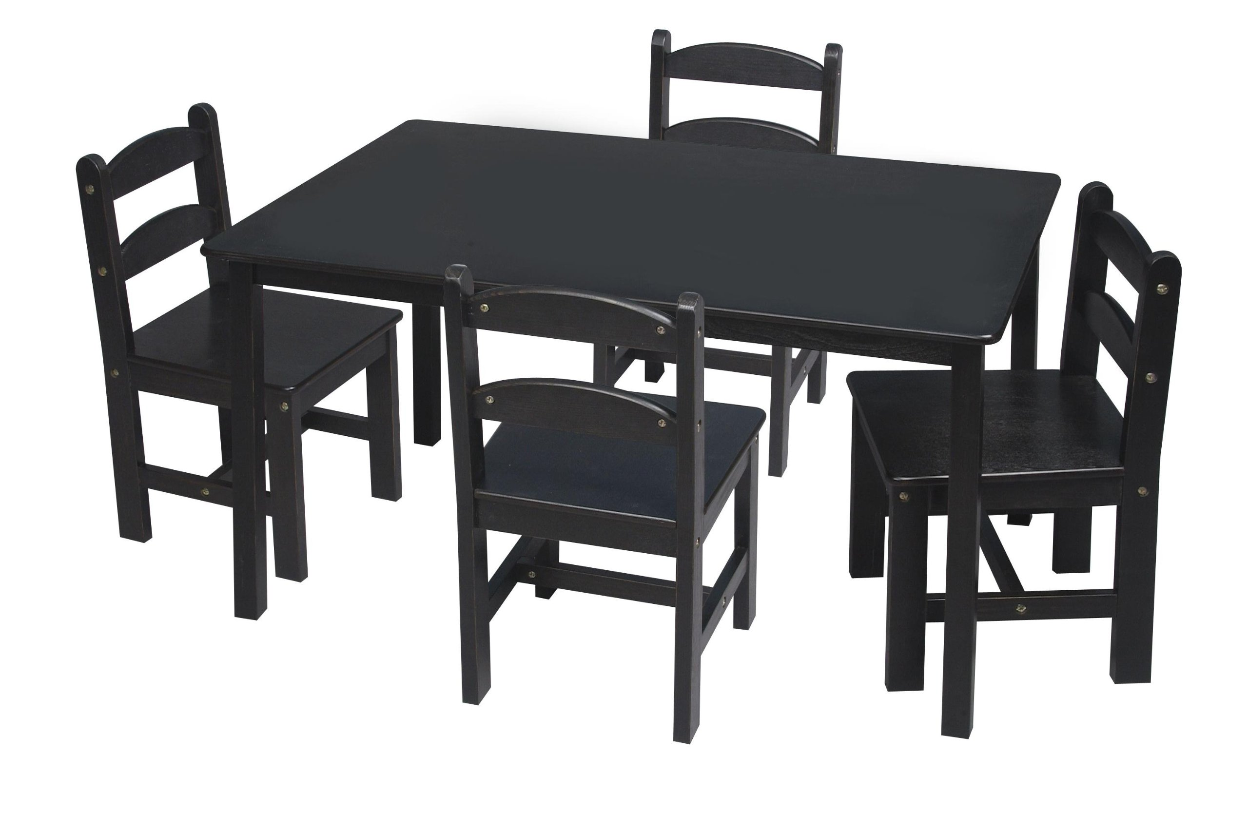Gift Mark Rectangle Table Set with 4 Chairs, Espresso