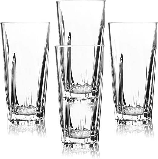 Amazon Com Pemotech Plastic Drinking Glasses 4 Pack 16 Oz Restaurant Quality Clear Acrylic Drinking Glasses Cups Set 100 Bpa Free Unbreakable Glasses Water Tumblers Dishwasher Safe Plastic Glassware Set Tumblers Water Glasses
