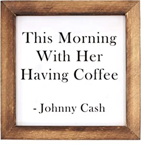 Ku-dayi This Morning with Her Having Coffee Framed Block Sign 7 x 7 inches Rustic Farmhouse Style Solid Wood Sign Art Decor Standing On Shelf Table Friend Idea. (White)
