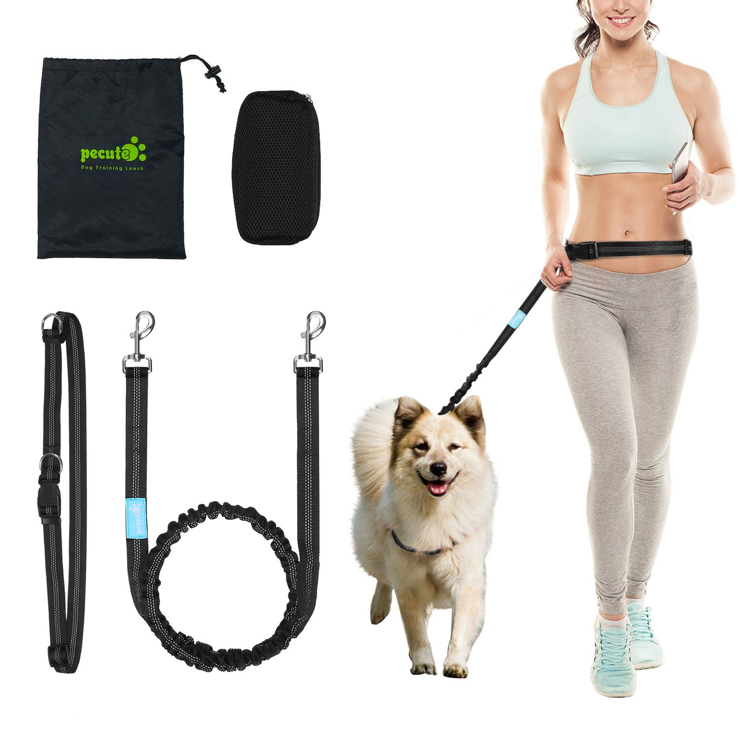 Hands Free Waist Dog Leash 1.2m with Bungee and Dog treat pouch,Adjustable Detachable Waist Belt Fit 28'' to 48'', 3 Reflective Stitching Bungee leash For Jogging, Running,include Free Handy Bag