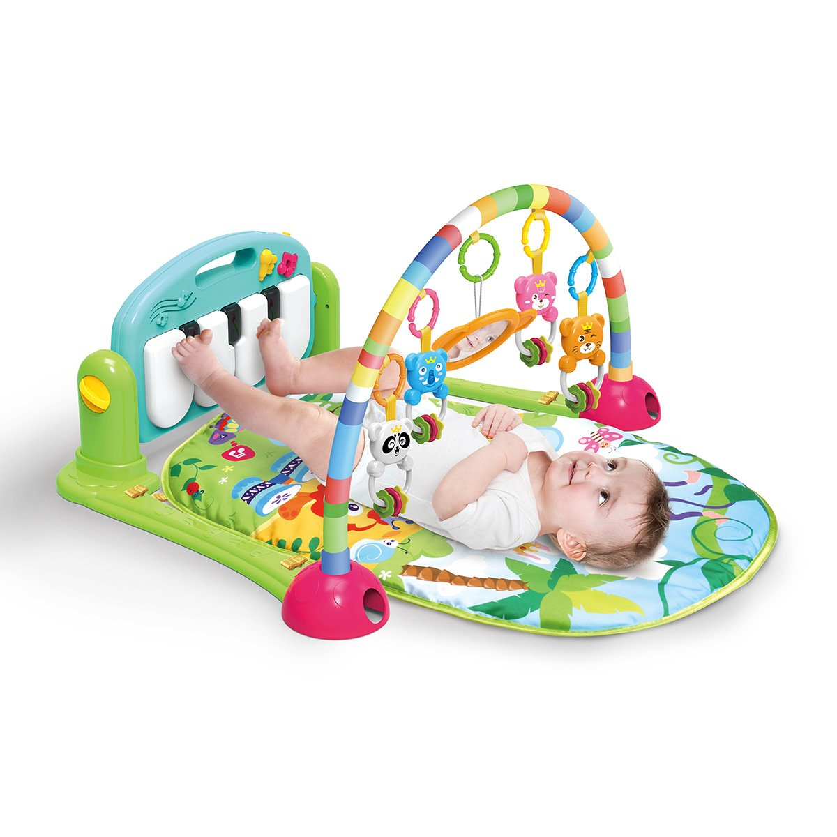 4 in 1 Kick and Play Piano Gym,Unisex Baby Gym Playmat Musical Activity Playmat, Soft Toys, Rattle, Light & Sound Playmat Discovery Carpet for Infants Toddlers Newborn Kick and Playmat 0-36 Months Tech Traders
