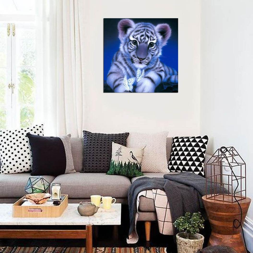 5D Diamond Painting,Lavany Tiger with Butterfly DIY Diamond Painting By Number Kits Embroidery Home Decor,Cross Stitch Stamped Kits (A) by Lavany (Image #2)