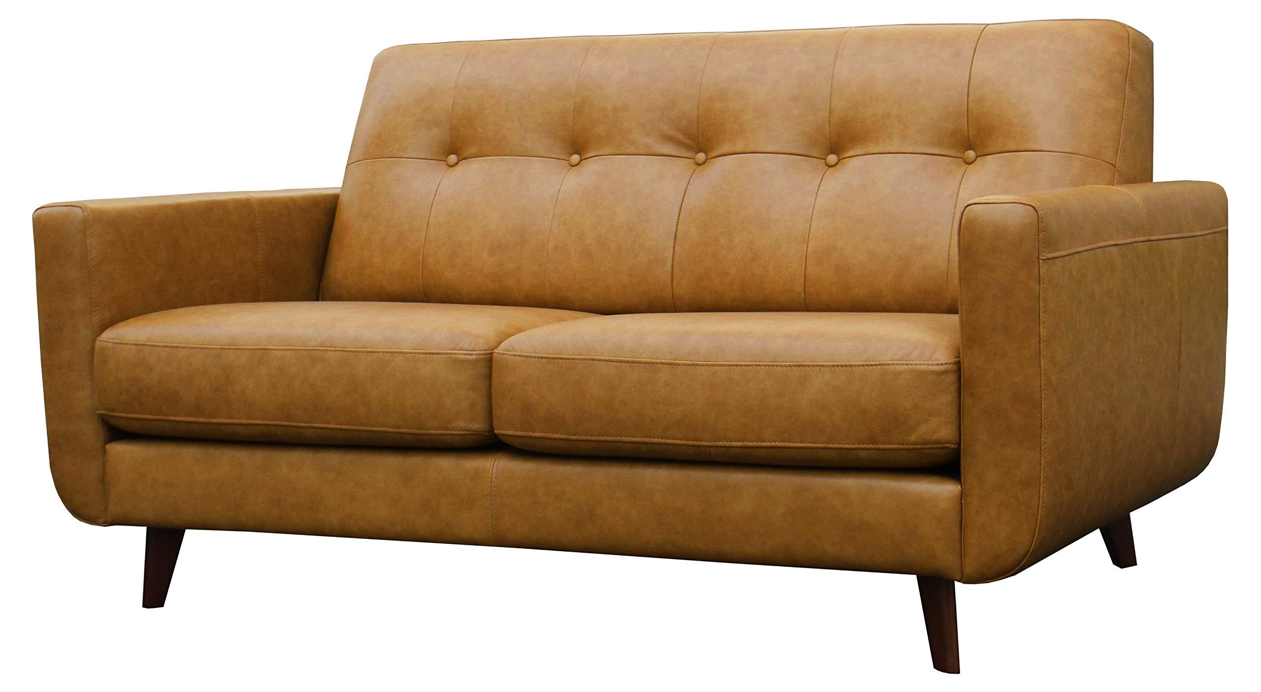Rivet Sloane Modern Leather Loveseat with Tufted Back, 64.2''W, Caramel by Rivet
