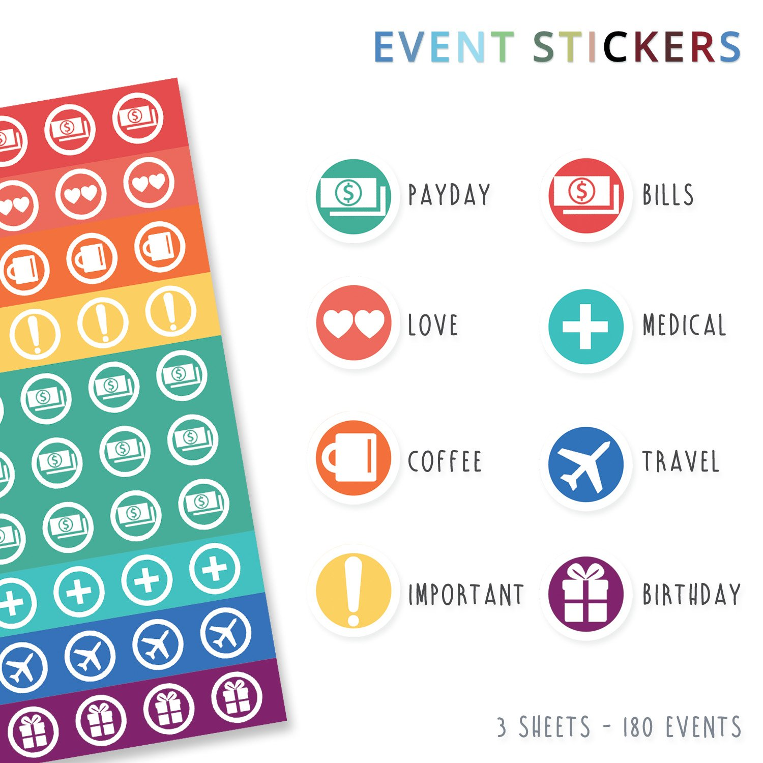 The Simple Elephant Stickers - Productivity Planner Stickers - Perfect Fit with Planners, Journals, Agendas - Variety Pack with Calendar Tabs, Events, ...
