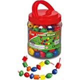 Viga Wooden Jumbo Lacing Beads Tub - Childrens Threading STEM Wood Toy