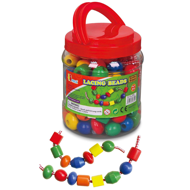 Viga Toys 90 Perlen Holzperlen 5 F/äden