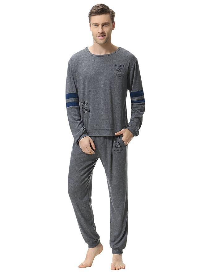 Aibrou Clásico Pijamas Hombre Invierno Algodon Mangas Pantalones Largos Set, Suave, Cómodo y Agradable: Amazon.es: Ropa y accesorios
