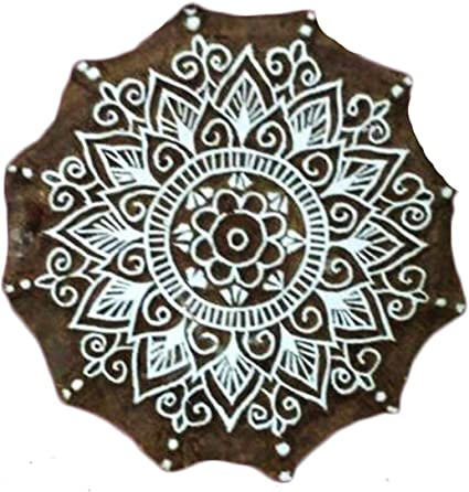 "Hand Carved Star Wooden Decorative Stamps Textile Printing Block 3/"" Diameter"