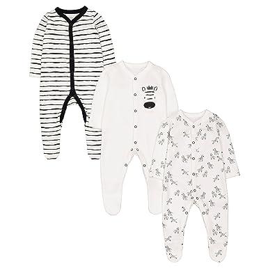 Mothercare Baby Unisex 3 Pack Sleepsuits Zebra Multicolour (Black White) 19854af2c