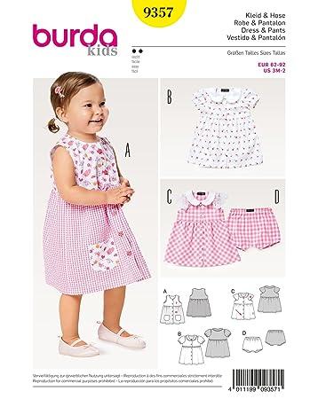 Burda 9357 Schnittmuster Kleid mit Bubikragen und Höschen (Kids, Gr ...