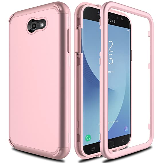 new styles 3ffc6 24308 Samsung Galaxy J7 Prime Case, Galaxy J7 V Case, J7 Perx/J7 Sky Pro/Galaxy  Halo AMENQ 3 in 1 Heavy Duty Absorb Impact Silicone Rubber Smooth PC ...