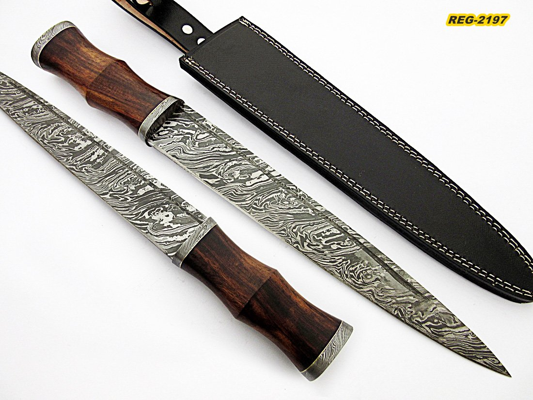 REG-2197 – Custom Handmade Damascus Steel 17 Inches Dirk Blade Knife – Perfect Grip Rose Wood Handle