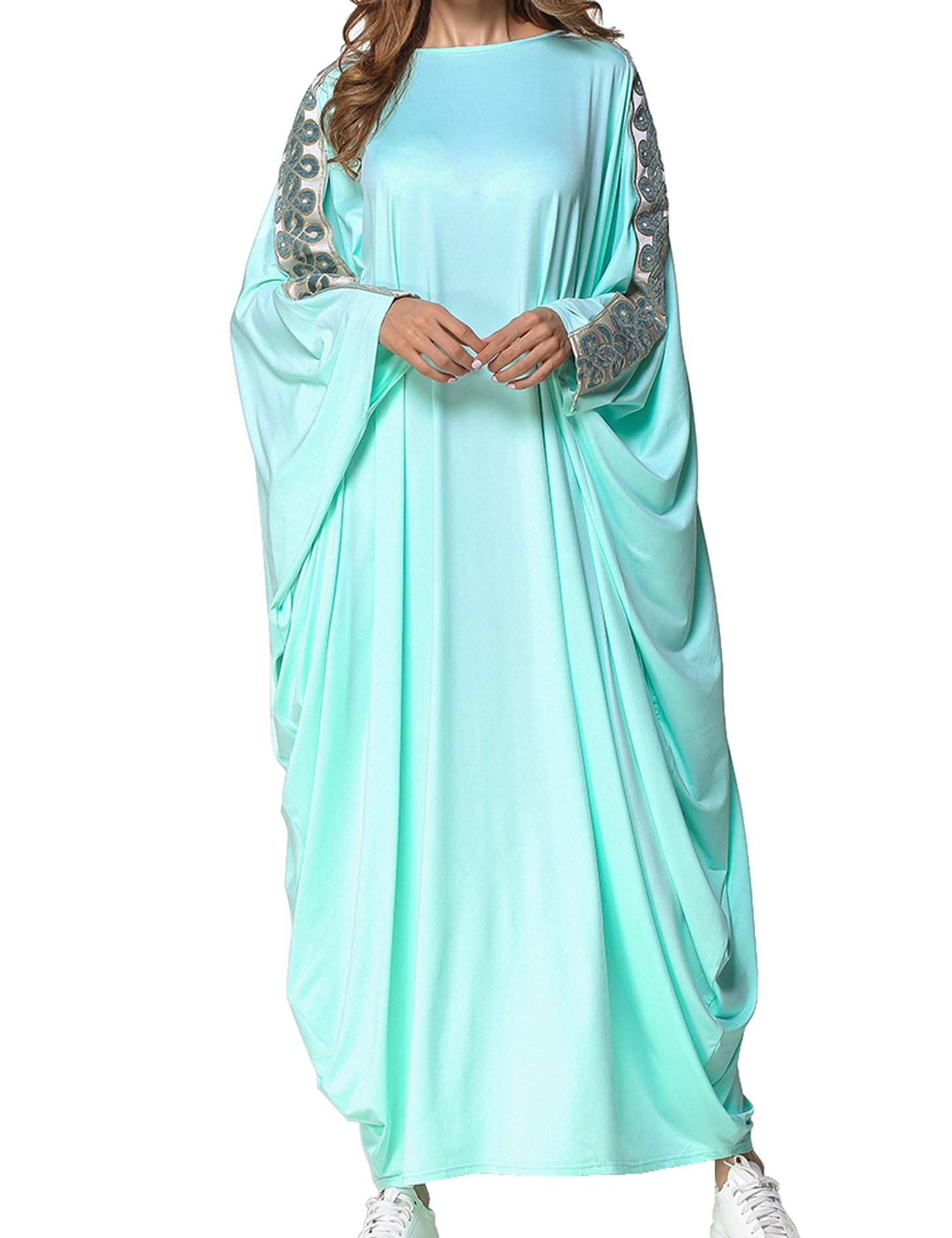 Qianliniuinc Women Muslim Islamic Long Dress-Bat Sleeve Plus Size Abaya Kaftan Clothing Moroccan Dubai Gown Blue