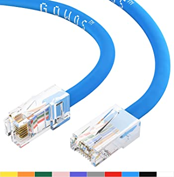 Yellow 1Gigabit//Sec High Speed LAN Internet//Patch Cable 24AWG Network Cable with Gold Plated RJ45 Snagless//Molded//Booted Connector 350MHz GOWOS Cat5e Ethernet Cable 100-Pack - 9 Feet
