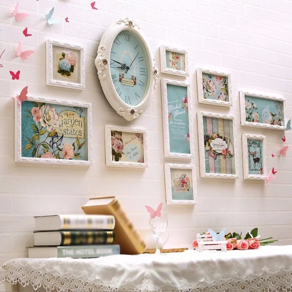 Solid Wood Clock Photo Wall Living Room Bedroom Sofa Frame Wall Creative Combination Of Warm Photo Wall by YZXK (Image #1)