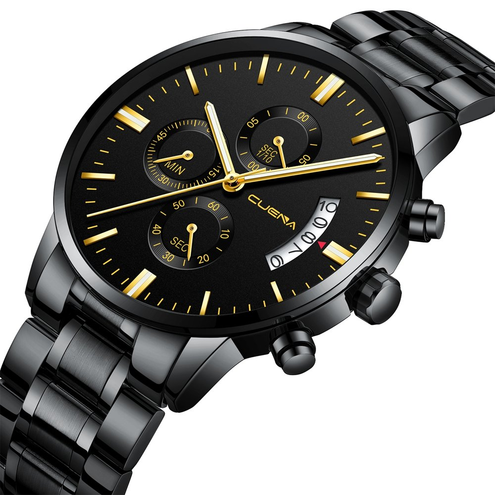 Amazon.com: CUENA Men Stainless Steel Quartz Watches Military Waterproof Sport Classic Business Wristwatch for Gifts (Black Gold): Watches