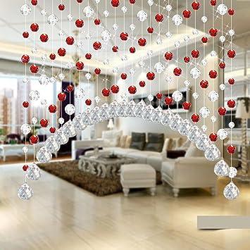 Igemy 1PCS Glas Kristall Perle Vorhang Luxus Wohnzimmer Schlafzimmer  Fenster Tür Hochzeit Dekor (Rot)