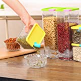 Kurtzy Plastic Storage box Container Organizer with lid for Meal Prep Food Cereal Pasta Rice beans grains sprouts Set of 6