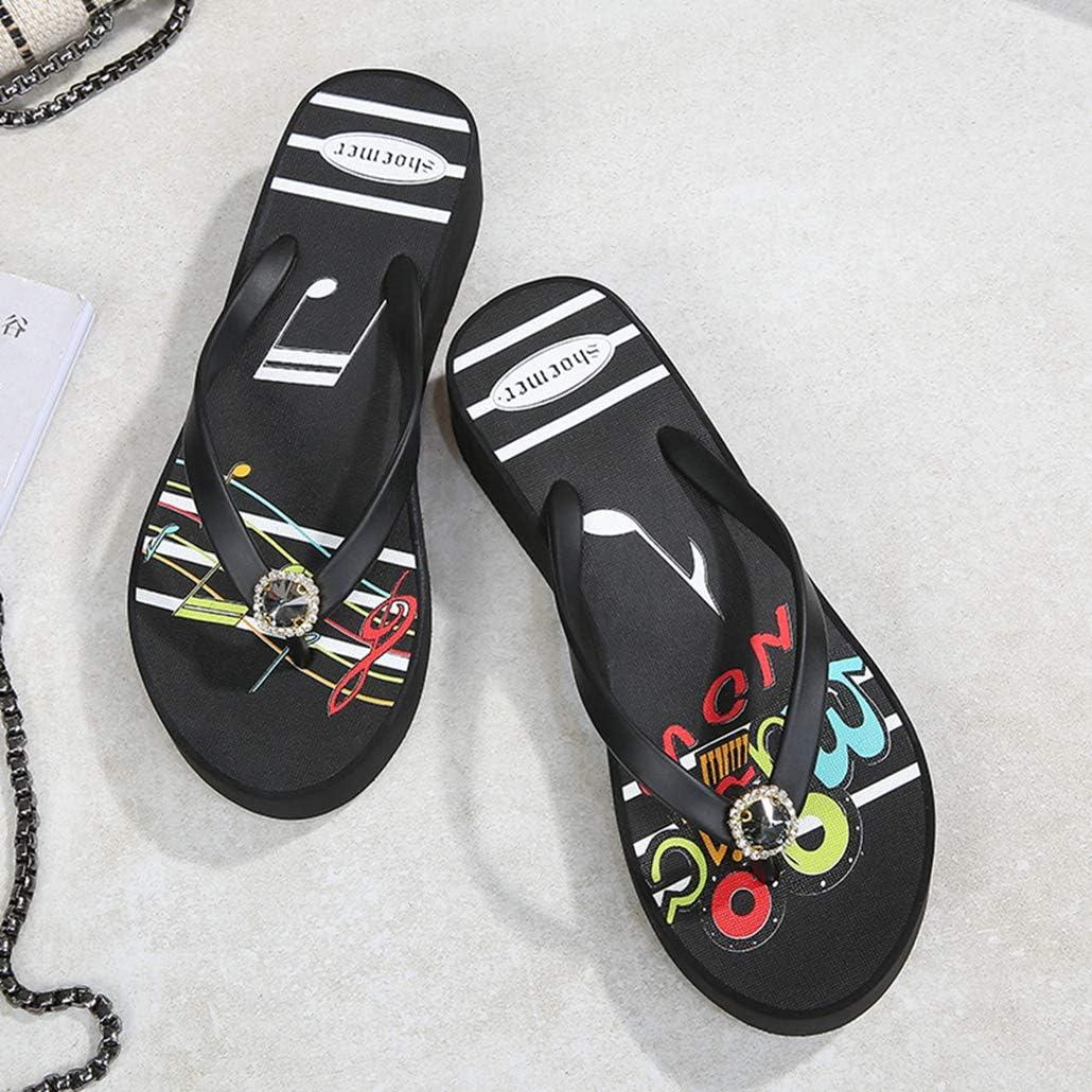 GCOCO Rhinestone Wedge Flipflops Women for Platform High Heel Sandals Clip Toe Summer Thong Beach Slipper