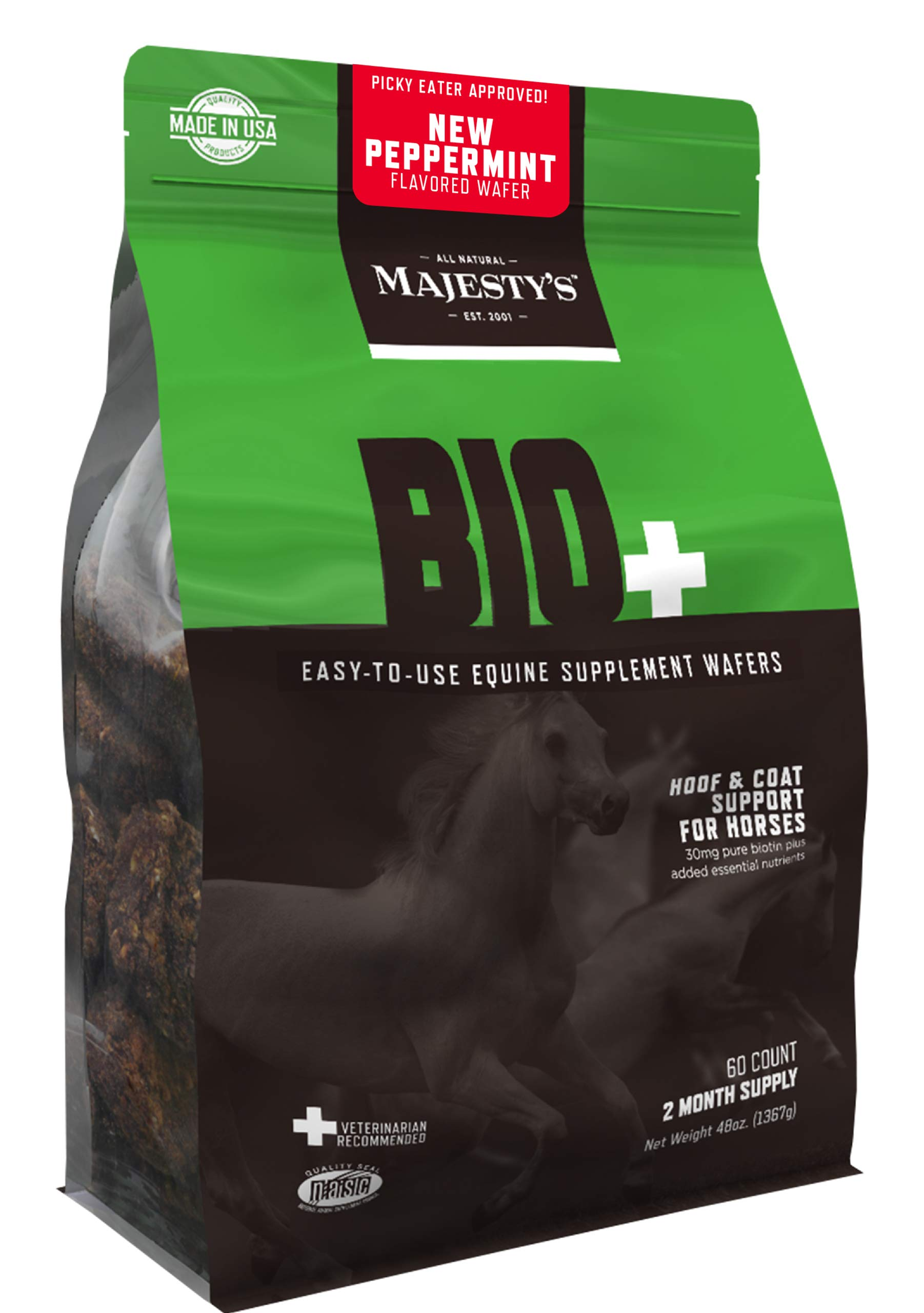 Majesty's Bio+ Peppermint Wafers - Horse/Equine Hoof & Coat Support Supplement - Pure Biotin, Lysine, Methionine, Zinc - Healthier Coats/Hair/Skin & Stronger Hooves - 2 Month Supply (1 Bag/60 Count) by Majesty's