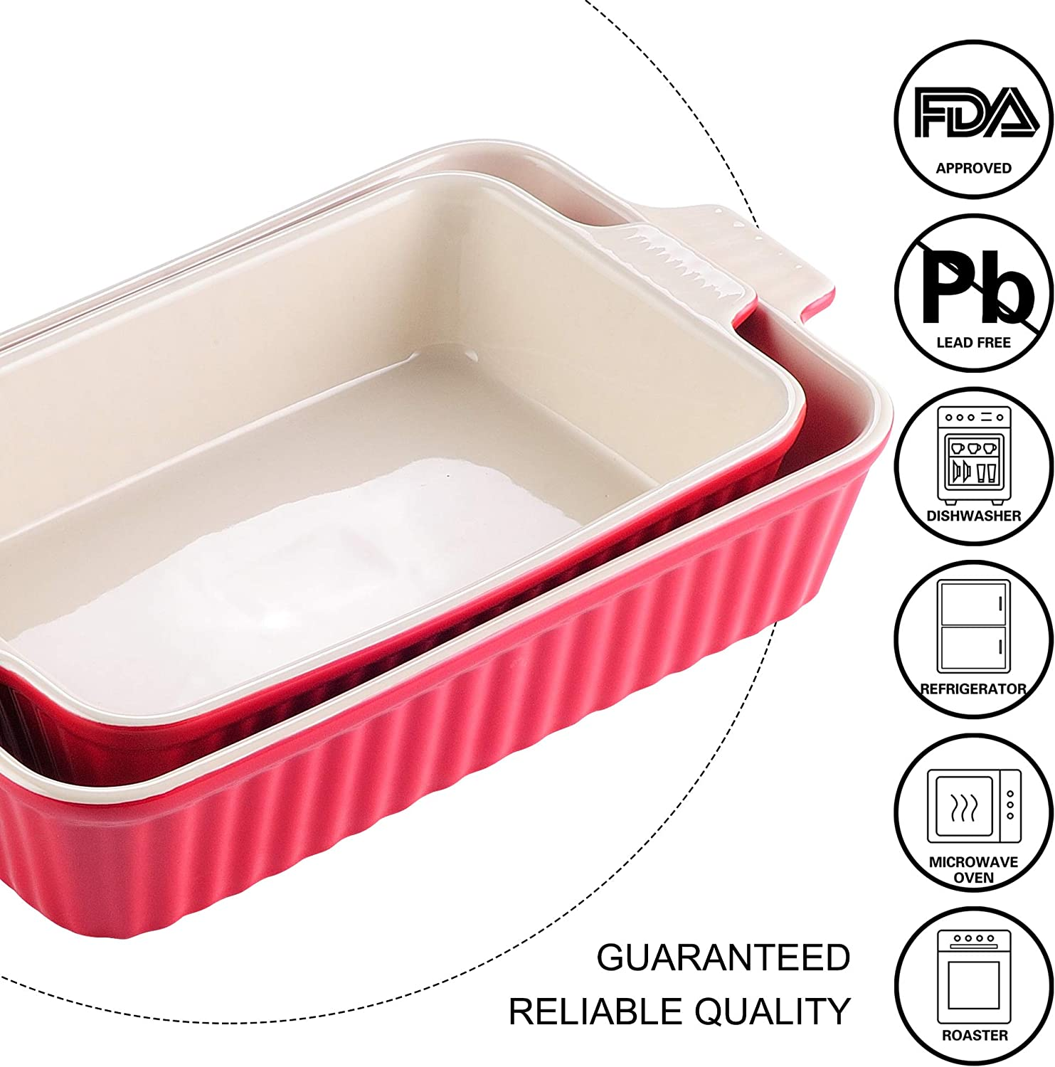 Malacasa Series Bake Rectangular Baking Dish Set Of 2 12 13 3 Oven To Table Baking Dish With Ceramic Handles Ideal For Lasagne Pie Casserole Tapas Red Amazon Co Uk Kitchen Home