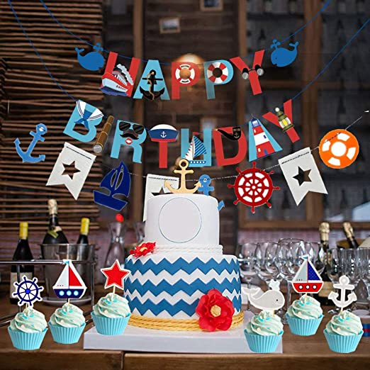 Amazon Com 77pcs Nautical Party Supplies For Boys Nautical Party Decorations Nautical Happy Birthday Banner Cupcake Toppers Balloons For Kids Girls Baby Shower Nautical Theme Birthday Party Decoration Supplies