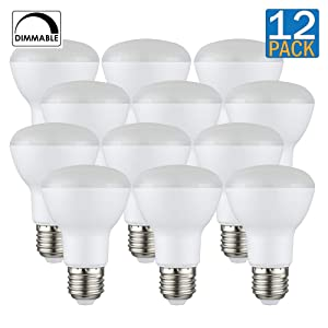 [12-Pack] PROCURU BR20 LED Light Bulb 5.5W (50W Equivalent) Flood Dimmable 2700K Soft White 525 Lumens, Indoor/Outdoor 25000 Hrs Rated, UL & Energy Star Certified