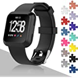Fitbit Versa Bands, mtsugar Classic Edition Replacement Sport Wristband for Fitbit Versa with Buckle, 13 Colors, Large, Small
