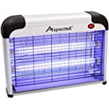 ASPECTEK Lámpara Matamoscas Electrico, Atrapa UV Lampara para Mata Mosquitos y Insectos,Control Multi-Insecto 20 W Efecto 60 m² Dispositivo de Suspensión Plateado