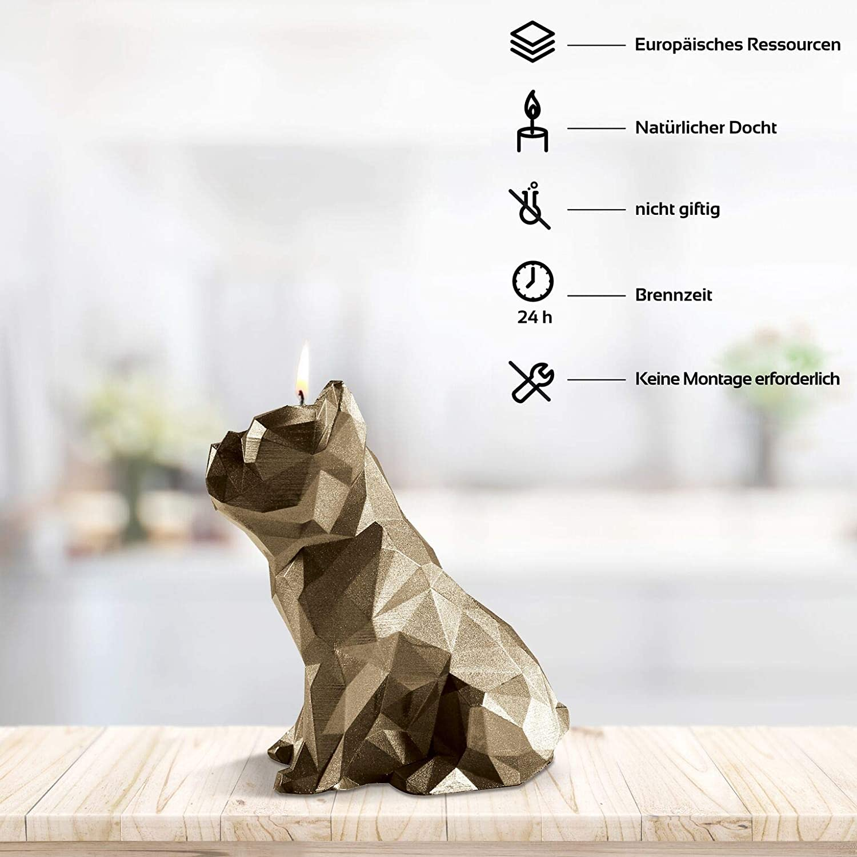 Candellana Kerze Bulldogge Low Poly Handgemacht in der EU 15 cm H/öhe