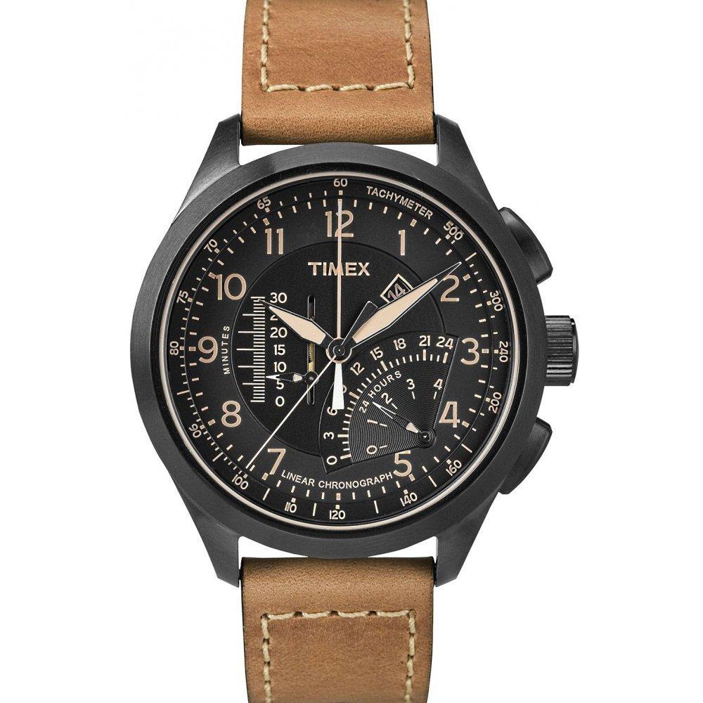 Timex Intelligent Quartz T2P277 Mens Black Tan Linear Chronograph Watch by Timex
