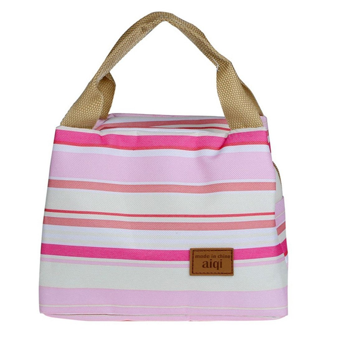 9861230c7488 ZHOUBA Insulated Thermal Cooler Striped Lunch Bag Travel Picnic ...