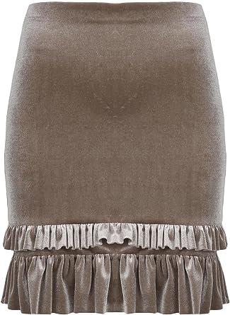 Women Ladies Velour Velvet Peplum Ruffle Frill Stretch Ladies Bodycon Mini Skirt