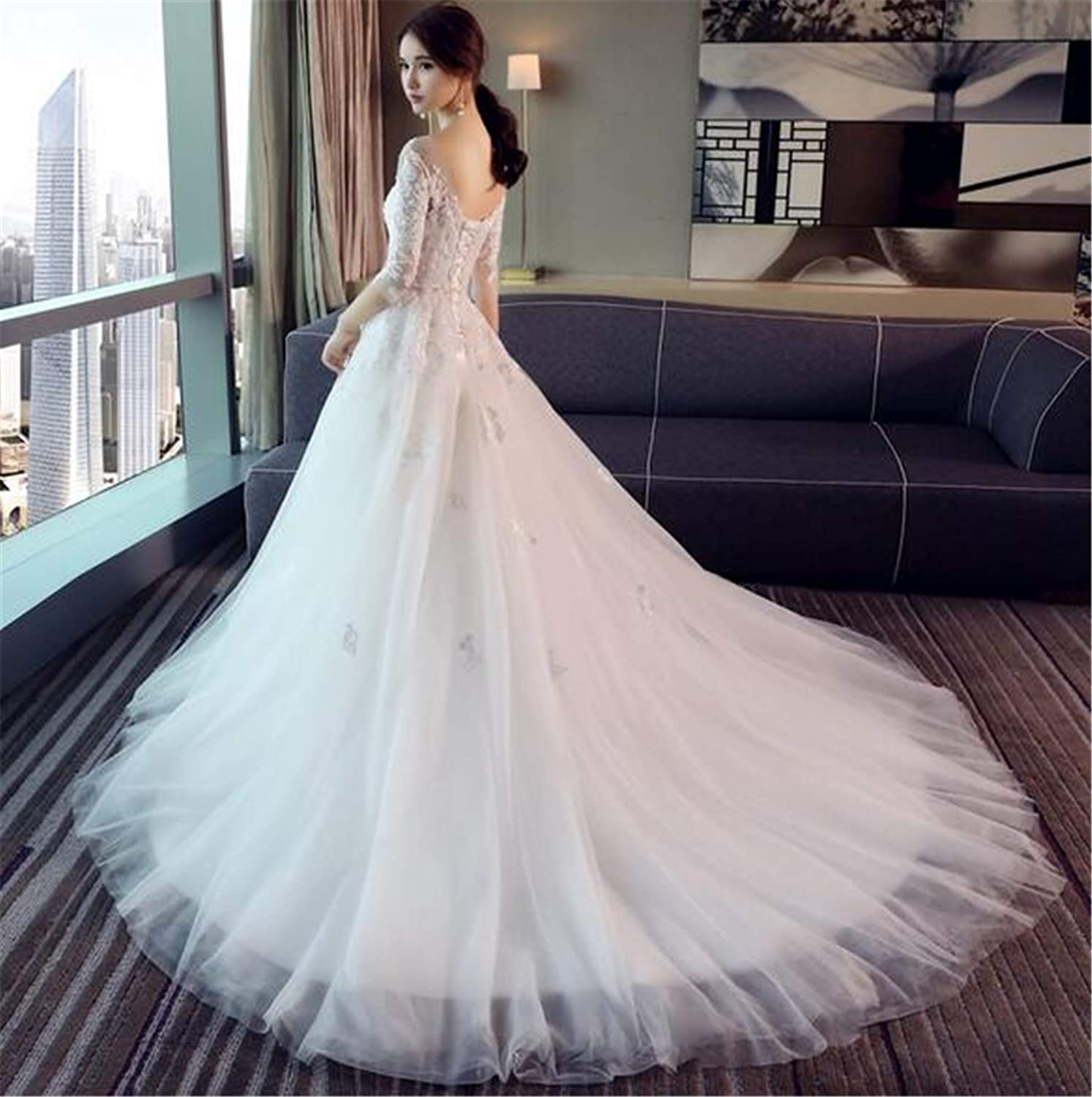 Wedding Dress, Bride Marry Party Birthday Evening Dress Sexy Lace Embroidery Trailing Long Sleeve ThreeDimensional Flower Slim Tulle