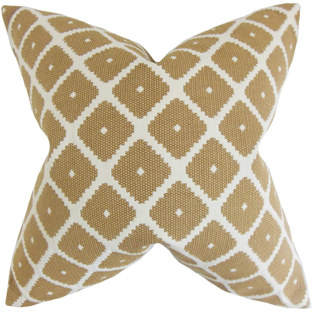 The Pillow Collection Fallon Geometric Copper Down Filled Throw Pillow