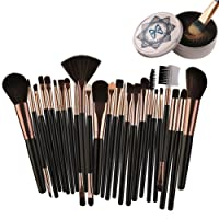 POPVCLY Makeup Brushes Set 25 Piece,Beauty Tool Foundation Eyebrow Blusher Eyeshadow Concealers Blending Cosmetic Brush Kit(With Cosmetic Brush Scrubber)