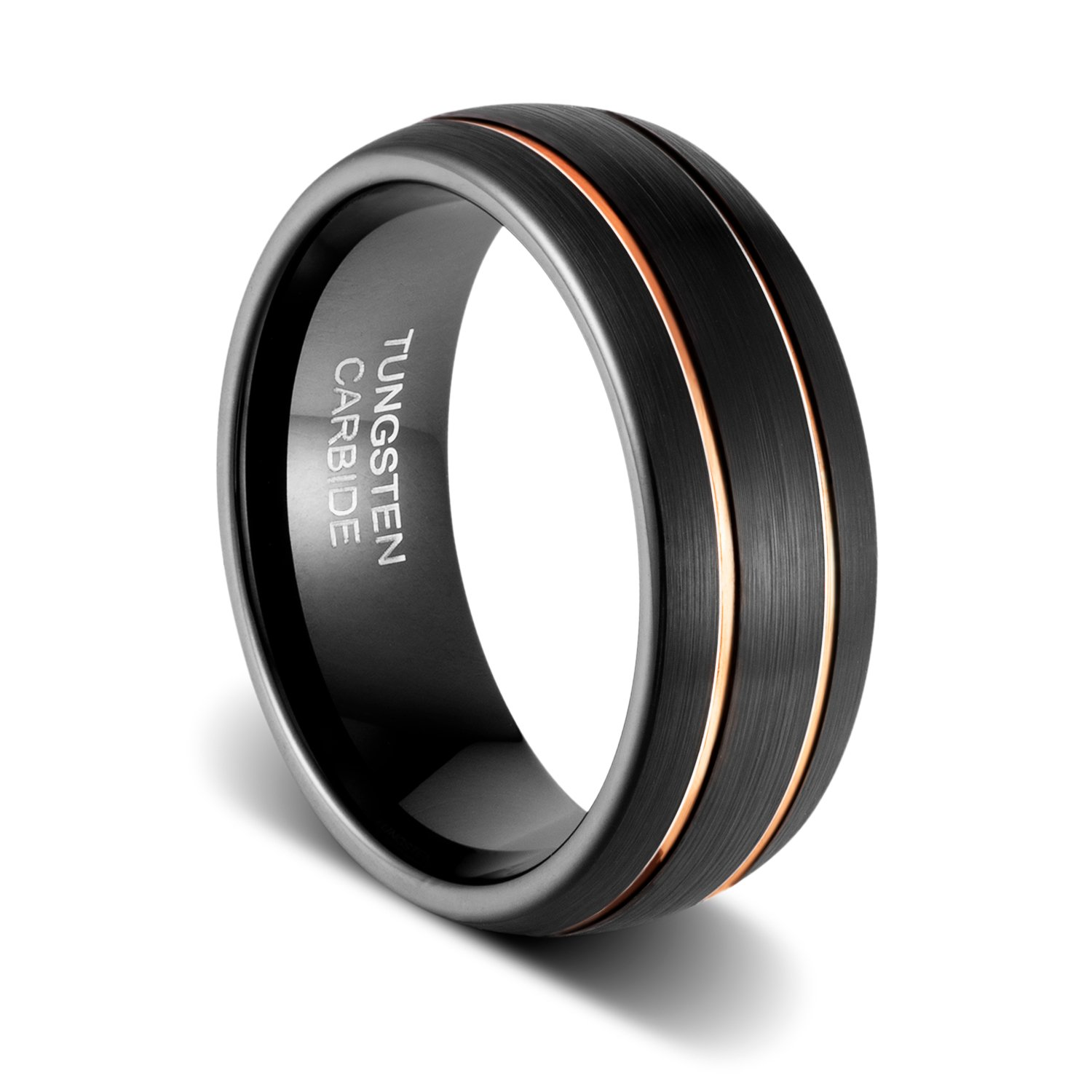 Tusen Jewelry Mens Wedding Band 8mm Black Tungsten Ring Brushed Matte Double Groove Rose Gold Inlay Dome Amazon: Black Metal Wedding Bands At Reisefeber.org
