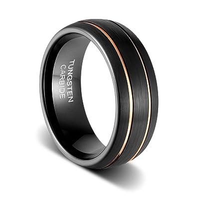 Tusen Jewelry Mens Wedding Band 8mm Black Tungsten Ring Brushed