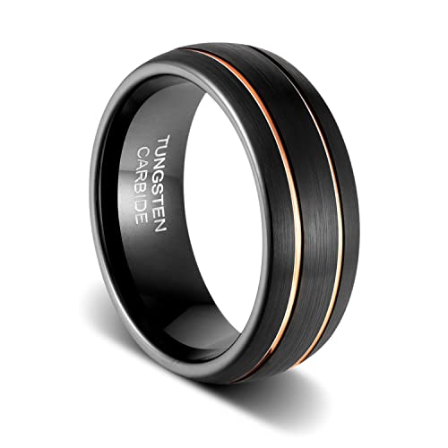 ee6f01e0abe85 TUSEN JEWELRY Mens Wedding Band 8mm Black Tungsten Ring Brushed Matte  Double Groove Rose Gold Inlay Dome