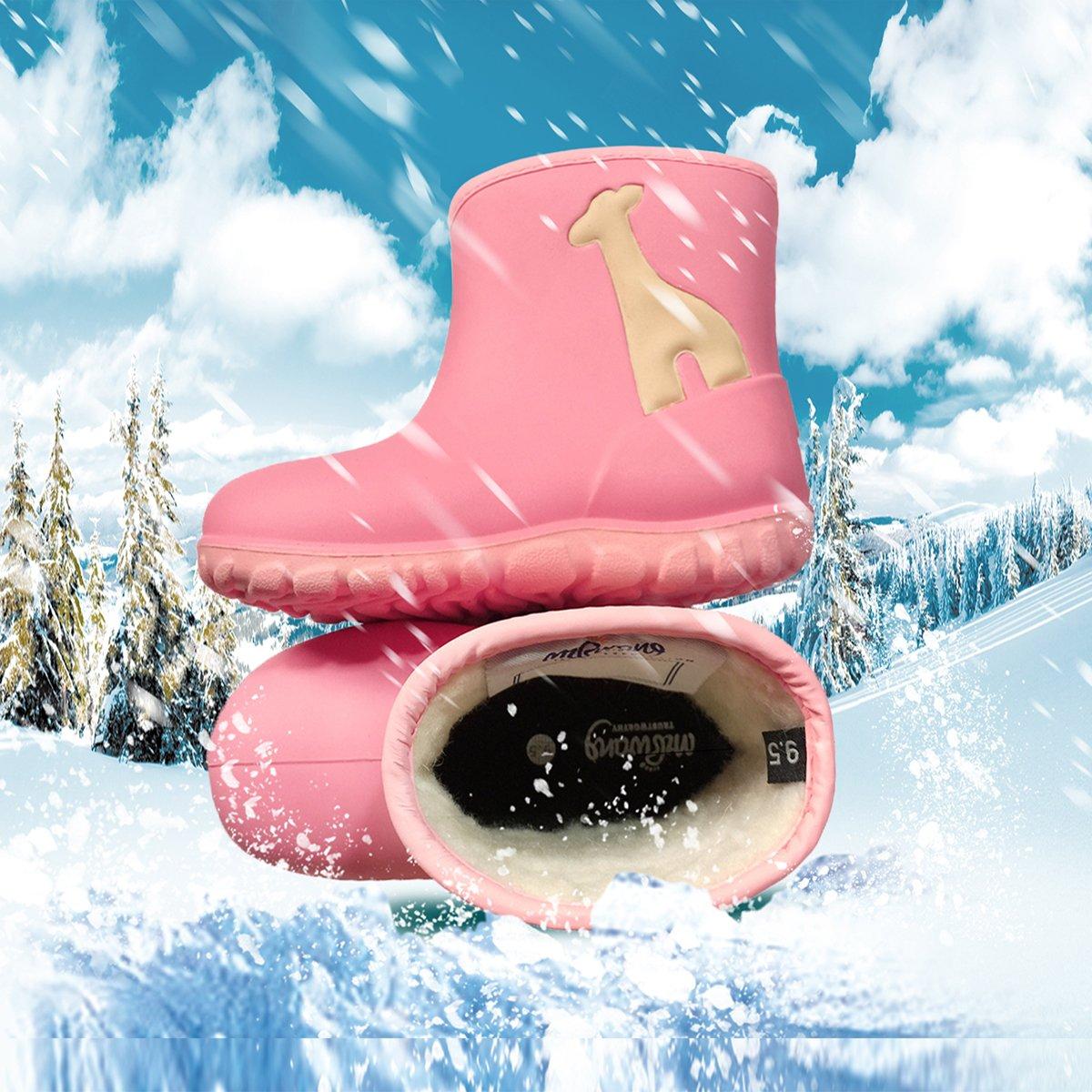 Black//Green//Pink MZKWANG Snow Boots Winter Outdoor Shoes PU Waterproof Boots Muck Rain Boots Rubber Overshoes Girl Boy Kids