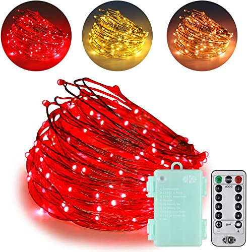 Ruichen Dimmable Battery Operated LED String Lights with Remote Timer 8 Modes 66Ft 200 LED Silver Coated Copper Wire Color Changing Fairy Lights for Indoor Ourdoor Garden Party Warm White Red