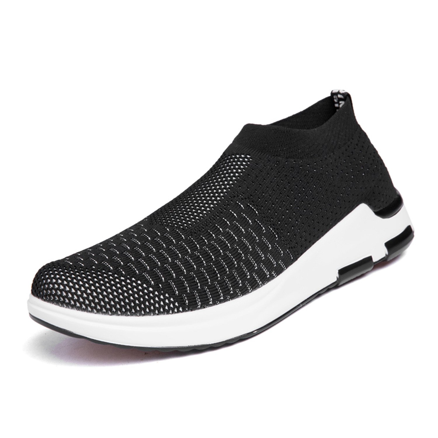 YALOX Men's Women's Walking Shoes Slip On Lightweight Sneakers Fashion Casual Breathable Athletic Running Shoes Men 7.5 D(M) US|Black-3-m