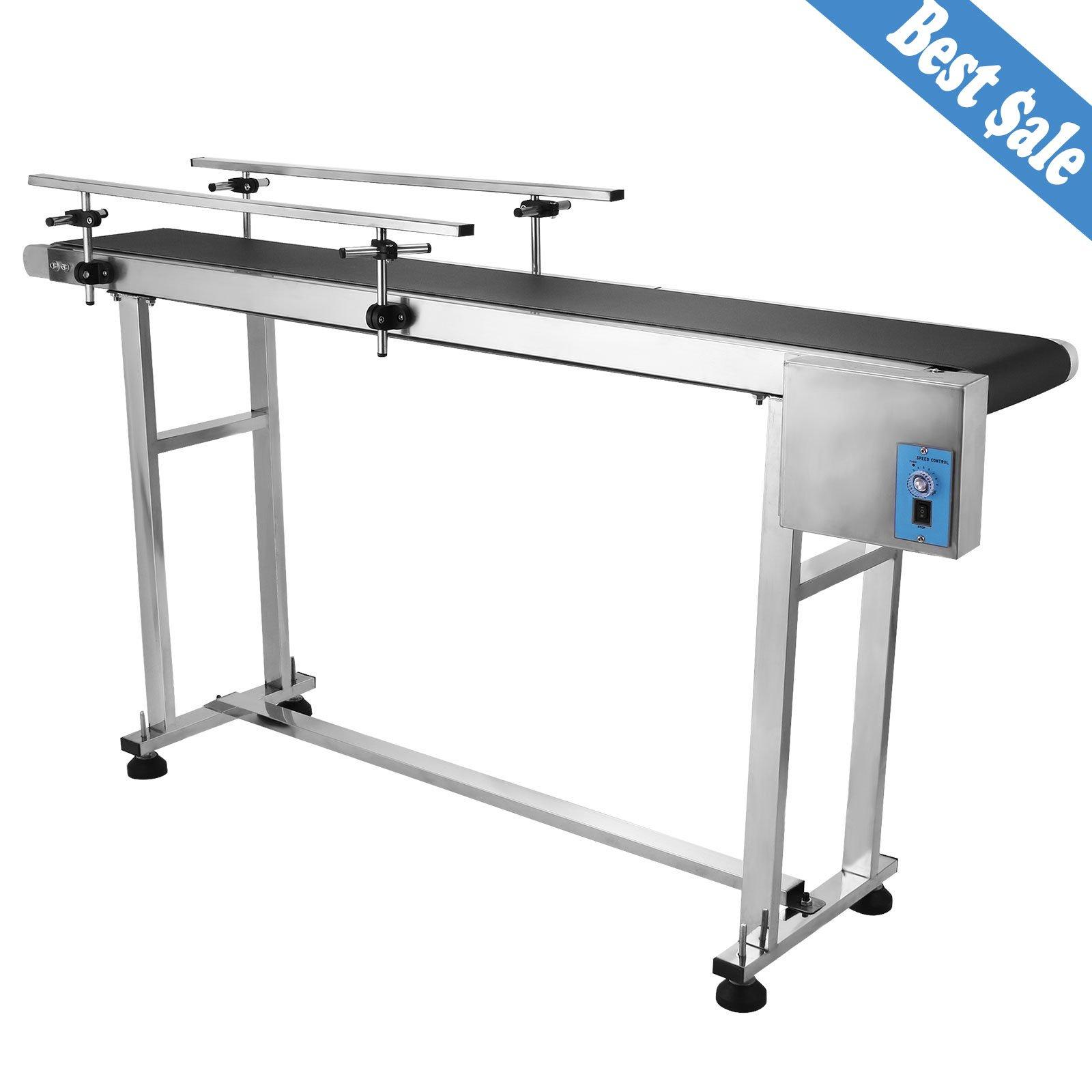 OrangeA Belt Conveyor 59 x 7.8 inch Adjustable Conveyor Table 0-82 ft/min Conveyor Belt Stainless Steel Motorized Anti-static PVC Belt with Double Guardrail