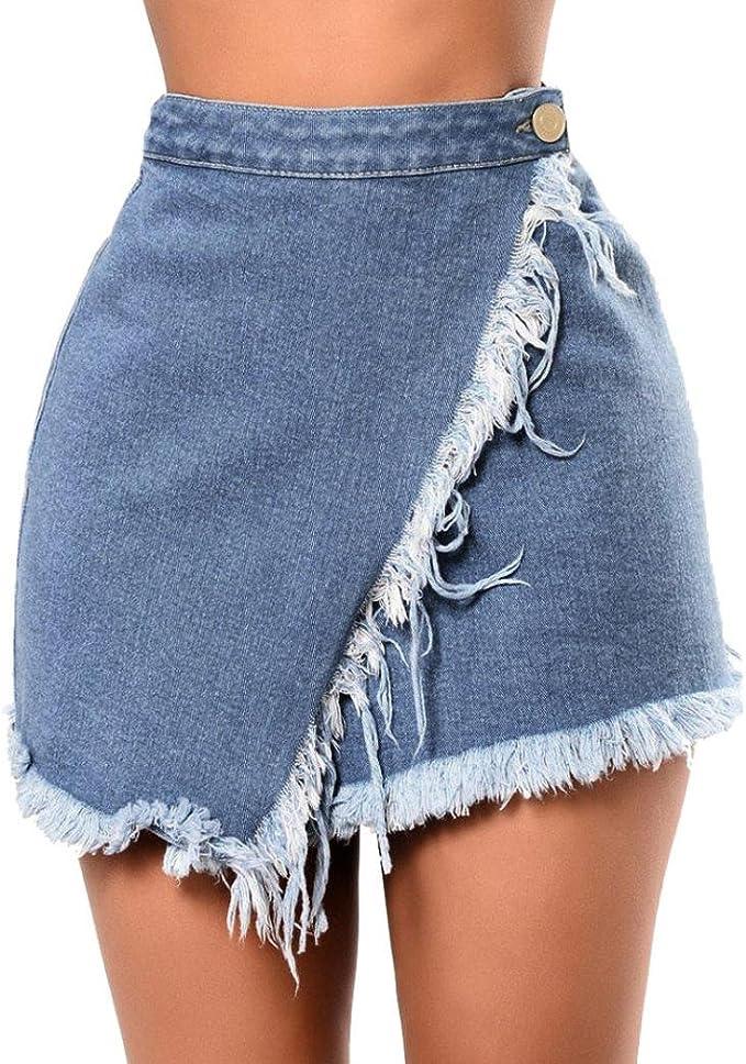 BYSTE Donna Minigonna,Estate Donne Cowboy Mini A vita alta Corto nappa Gonne di jeans sottile Pacchetto anca Corto Gonna Basic a Tubino
